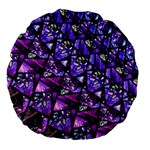 Blue purple Glass Large 18  Premium Flano Round Cushion