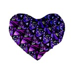 Blue purple Glass Standard 16  Premium Flano Heart Shape Cushion