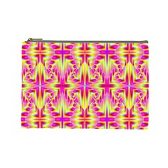 Pink And Yellow Rave Pattern Cosmetic Bag (large) by KirstenStar