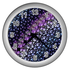 Dusk Blue And Purple Fractal Wall Clock (silver) by KirstenStar