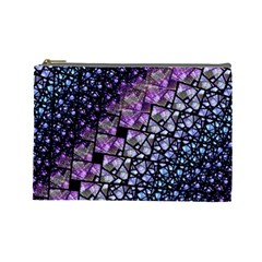 Dusk Blue And Purple Fractal Cosmetic Bag (large) by KirstenStar