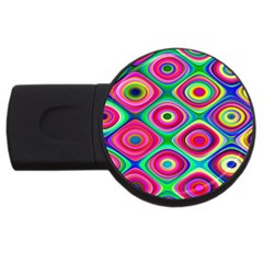 Psychedelic Checker Board 4gb Usb Flash Drive (round) by KirstenStar