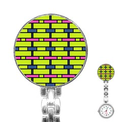 Pink,green,blue Rectangles Pattern Stainless Steel Nurses Watch by LalyLauraFLM