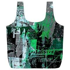 Green Urban Graffiti Reusable Bag (xl) by ArtistRoseanneJones