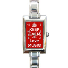 Keep Calm And Love Music 5739 Rectangular Italian Charm Watch by SuperFunHappyTime