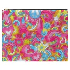 Hippy Peace Swirls Cosmetic Bag (xxxl) by KirstenStar