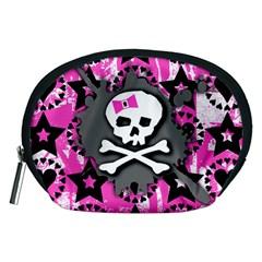 Pink Bow Skull Accessory Pouch (medium) by ArtistRoseanneJones