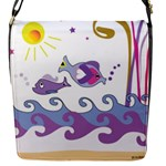 Fish Scribbles Flap Closure Messenger Bag (S)