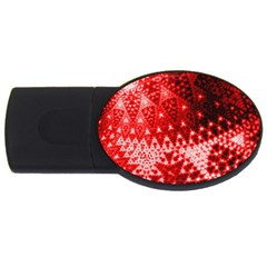 Red Fractal Lace 4gb Usb Flash Drive (oval) by KirstenStar