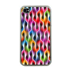 Rainbow Psychedelic Waves Apple Iphone 4 Case (clear) by KirstenStar