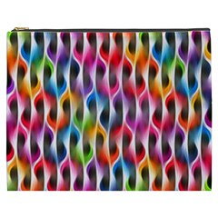 Rainbow Psychedelic Waves Cosmetic Bag (xxxl) by KirstenStar