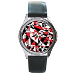 Shattered Life Tricolor Round Leather Watch (Silver Rim)