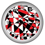 Shattered Life Tricolor Wall Clock (Silver)