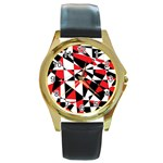 Shattered Life Tricolor Round Leather Watch (Gold Rim)