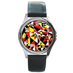 Shattered Life With Rays Of Hope Round Leather Watch (Silver Rim)
