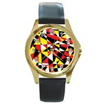 Shattered Life With Rays Of Hope Round Leather Watch (Gold Rim)