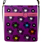 Purple Stars Flap Closure Messenger Bag (S)