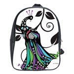 Peacock Illustration School Bag (XL)