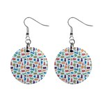 Blue Colorful Cats Silhouettes Pattern Mini Button Earrings