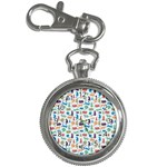 Blue Colorful Cats Silhouettes Pattern Key Chain Watches
