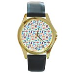 Blue Colorful Cats Silhouettes Pattern Round Gold Metal Watches