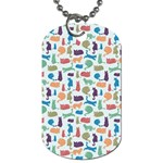 Blue Colorful Cats Silhouettes Pattern Dog Tag (Two Sides)