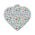 Blue Colorful Cats Silhouettes Pattern Dog Tag Heart (Two Sides)