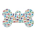Blue Colorful Cats Silhouettes Pattern Dog Tag Bone (Two Sides)