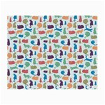 Blue Colorful Cats Silhouettes Pattern Small Glasses Cloth (2-Side)