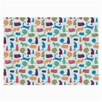 Blue Colorful Cats Silhouettes Pattern Large Glasses Cloth (2-Side)