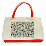 Blue Colorful Cats Silhouettes Pattern Classic Tote Bag (Red)