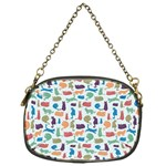 Blue Colorful Cats Silhouettes Pattern Chain Purses (One Side)
