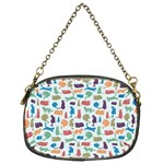 Blue Colorful Cats Silhouettes Pattern Chain Purses (Two Sides)