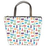 Blue Colorful Cats Silhouettes Pattern Bucket Bags