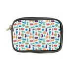 Blue Colorful Cats Silhouettes Pattern Coin Purse