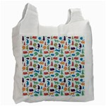 Blue Colorful Cats Silhouettes Pattern Recycle Bag (Two Side)