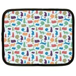 Blue Colorful Cats Silhouettes Pattern Netbook Case (XXL)