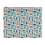 Blue Colorful Cats Silhouettes Pattern Cosmetic Bag (XL)