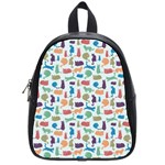 Blue Colorful Cats Silhouettes Pattern School Bags (Small)