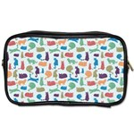 Blue Colorful Cats Silhouettes Pattern Toiletries Bags