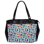 Blue Colorful Cats Silhouettes Pattern Office Handbags
