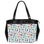 Blue Colorful Cats Silhouettes Pattern Office Handbags (2 Sides)