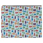 Blue Colorful Cats Silhouettes Pattern Cosmetic Bag (XXXL)
