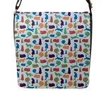 Blue Colorful Cats Silhouettes Pattern Flap Messenger Bag (L)