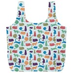 Blue Colorful Cats Silhouettes Pattern Full Print Recycle Bags (L)