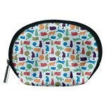 Blue Colorful Cats Silhouettes Pattern Accessory Pouches (Medium)