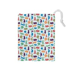 Blue Colorful Cats Silhouettes Pattern Drawstring Pouches (medium)  by Contest580383