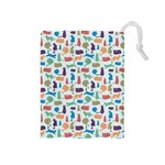 Blue Colorful Cats Silhouettes Pattern Drawstring Pouches (Medium)