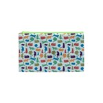 Blue Colorful Cats Silhouettes Pattern Cosmetic Bag (XS)