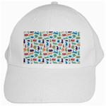 Blue Colorful Cats Silhouettes Pattern White Cap